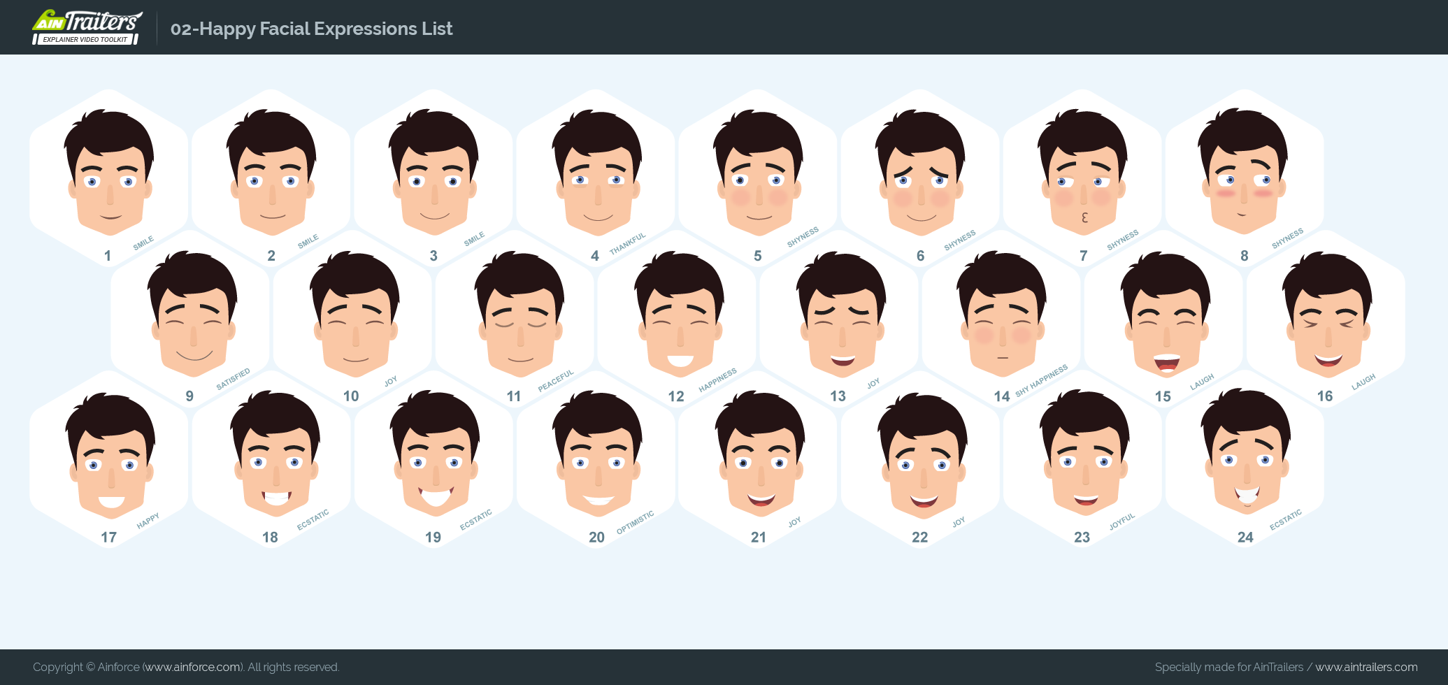 Character Happy Facial Expressions