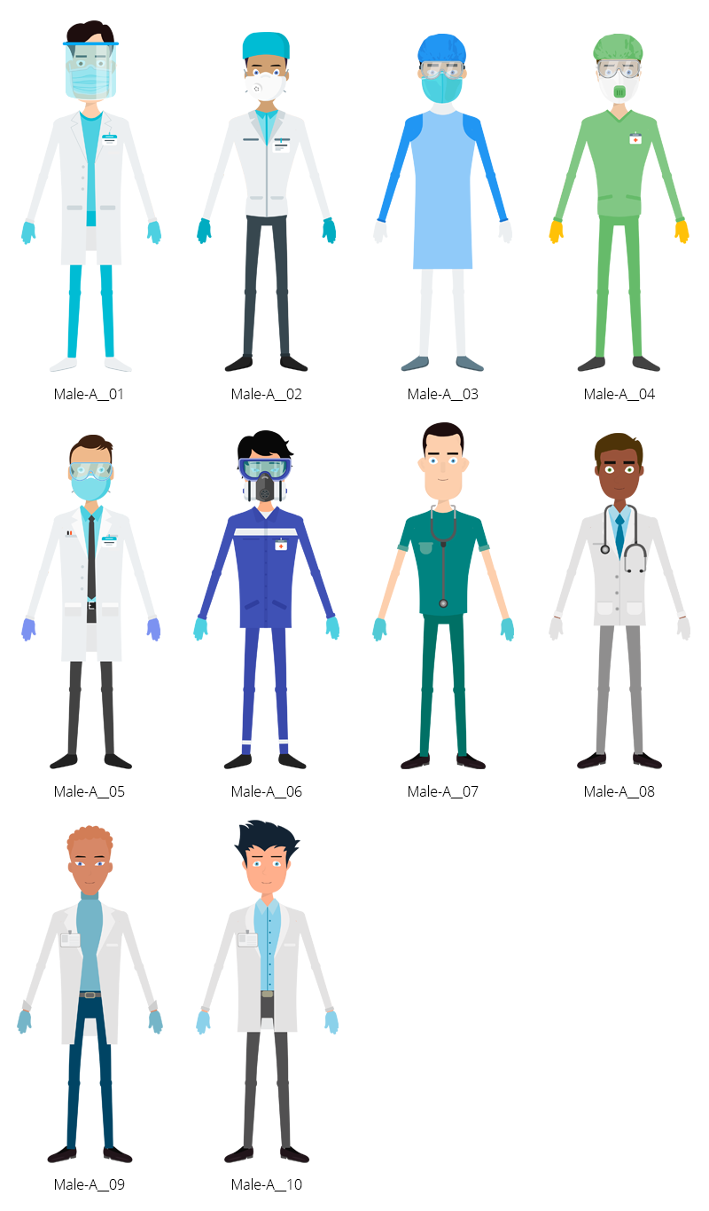 Medical COVID-19 Characters - Male A