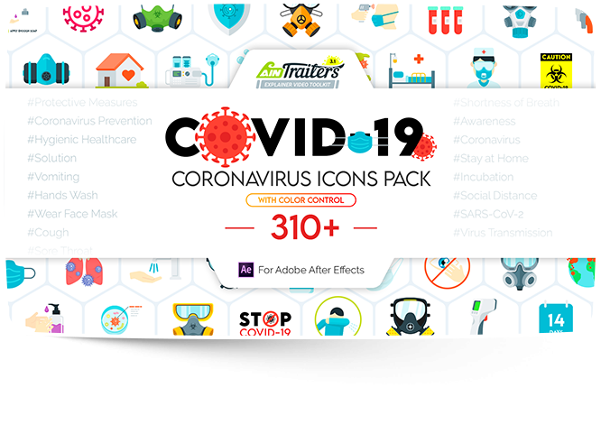 COVID-19 coronavirus icons pack preview in aintrailers
