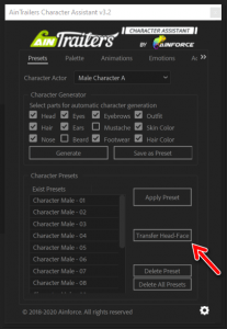 AinTrailers Character Assistant - Presets Tab